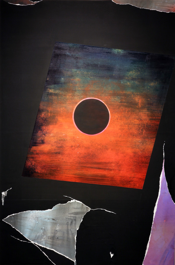 "Annular Eclipse, 2015 acrylic and mixed media collage on panel 48""x72"" (photo credit: Jose Rivera)"